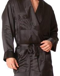 Intimo Men's Classic Silk Robe, Black, Medium