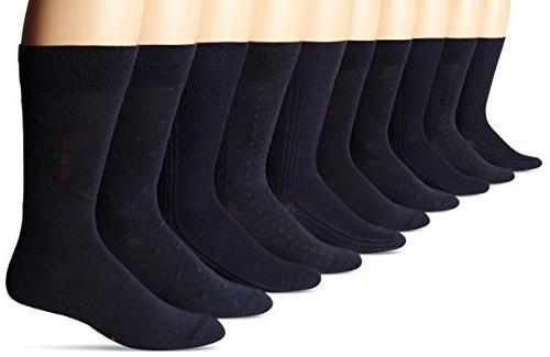 Dockers Men's 5 Pack Classics Dress Dobby Crew Socks, Black