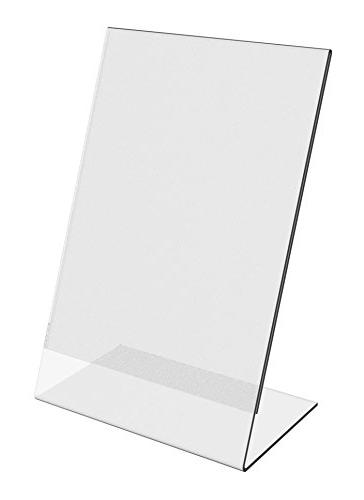 "8"" x 10"" Clear Acrylic Slant Back Ad / Sign Holder, Plastic"