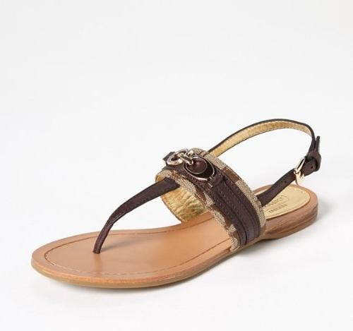 COACH SAMMY SEMI SANDAL CHESTNUT / KHAKI WOMEN SHOE SIZE 6 M