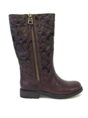 COACH VALENTINE MAHOGANY LEATHER BOOT WOMEN SHOE SIZE 6 M