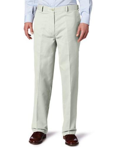 Men's Comfort Khaki D4 Relaxed Fit Flat Front Pant, Dark