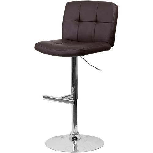 Contemporary Vinyl Adjustable Height Barstool with Mid-