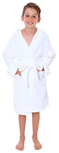 Simplicity Boys Coral Velvet Hooded Bathrobe Robe with Hood