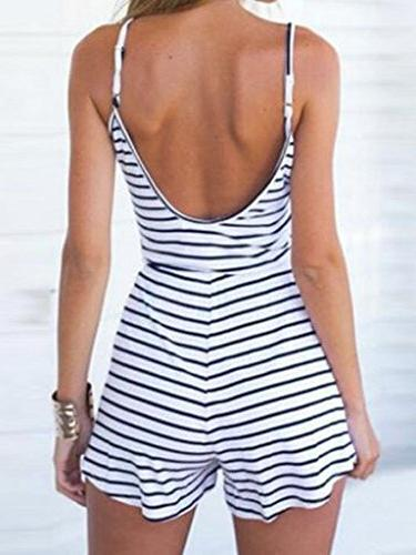Women's Cotton Summer Sexy Stripe Spaghetti Strap Backless