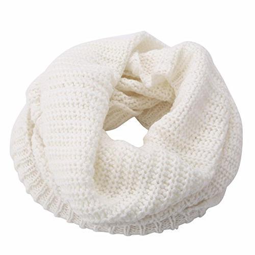 Men Women 2 Circle Cable Knit Long Scarf Shawl Cowl Neck
