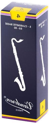 Vandoren CR124 Bass Clarinet Traditional Reeds Strength 4;