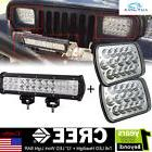 "CREE 7x6 LED Headlights+12"" LED Driving Light Bar for Jeep"
