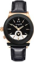 Salvatore Ferragamo Croc-Embossed Two-Tone Watch, Black