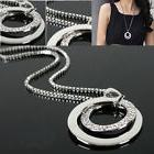 Fashion Women Crystal Rhinestone Silver Plated Long Chain