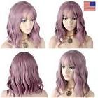 Curly Wavy Short Ombre Purple Bob Wigs Full Front Hair Women