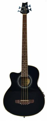 Cutaway Black Acoustic Electric 4 String Bass with 4 EQ & DirectlyCheap Translucent Blue Medium Guitar Pick