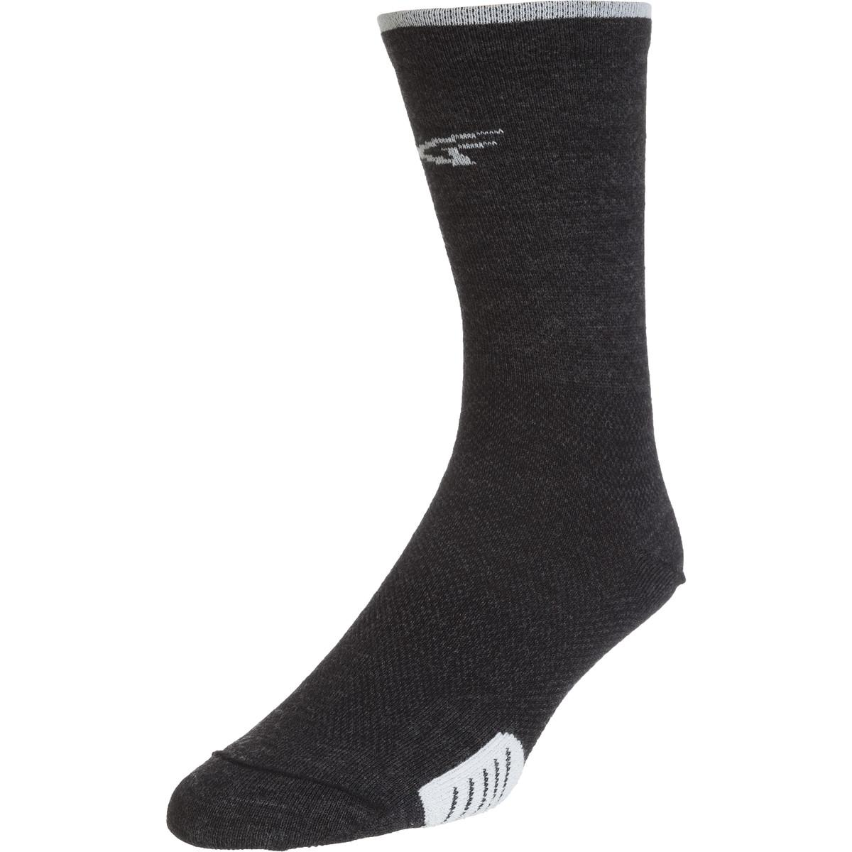 DeFeet Cyclismo Wool 5in Socks Charcoal/White Stripe, XL