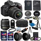 New Nikon D5200 Digital SLR Camera & 3 Lens 18-55mm VR