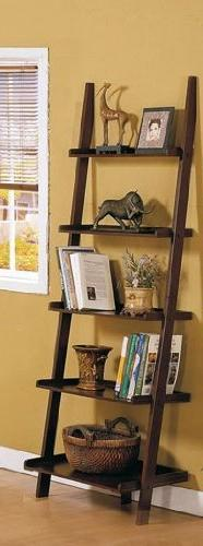 Dark Espresso Brown Leaning Bookcase Bookshelf by Poundex