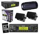 New In Dash Boat Marine MP3 USB Radio w/ 2 Black Box