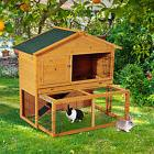 """Pawhut 47"""" Deluxe Wooden Rabbit Hutch Small Animal Pet Cage"""