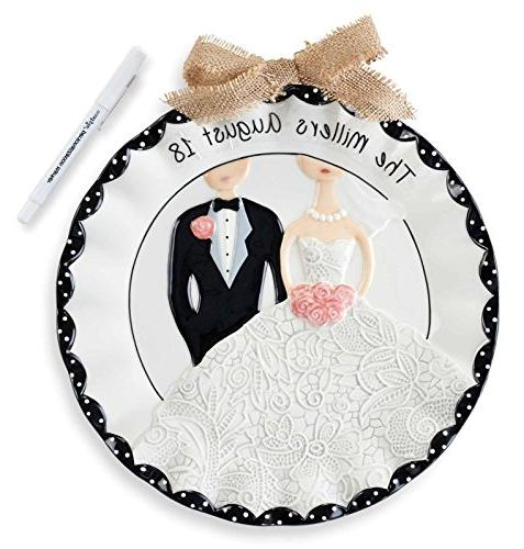 Dimensional Bride and Groom Wedding Plate 11 Inch