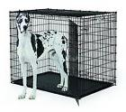 "XXL LARGE Dog Crate 54"" Kennel w Double Doors Gray Tray Pan"