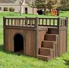 Large Dog House With Stairs Wood Kennel Outdoor Rooftop