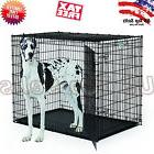 "Extra Large Dog Kennel Crate 48"" Folding Cage 2 Doors Metal"