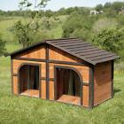 Double Dog House Wood Extra Large Duplex Outdoor Pet Shelter