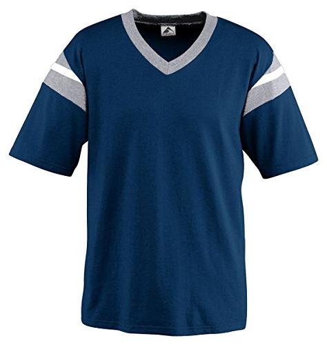 Augusta Sportswear Mens' Six-Ounce Vintage Jersey XL Athletic Heather/Navy/White