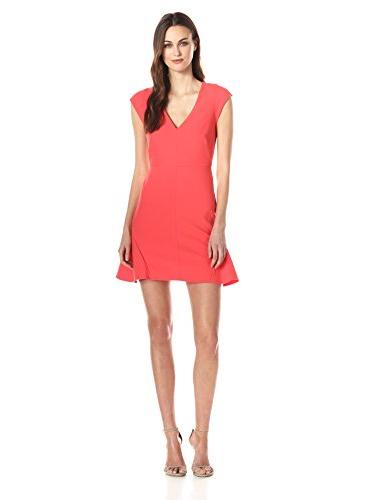 HALSTON HERITAGE Women's Drop waist V-Neck Structured Dress