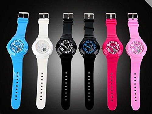 Fashion digital dual display electronic watches sports
