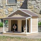 Duplex Dog House Shelter Outdoor Roomy Wood Kennel Houses
