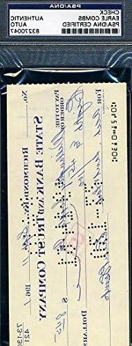 Earle Combs Signed Psa/dna 1961 Check Autograph