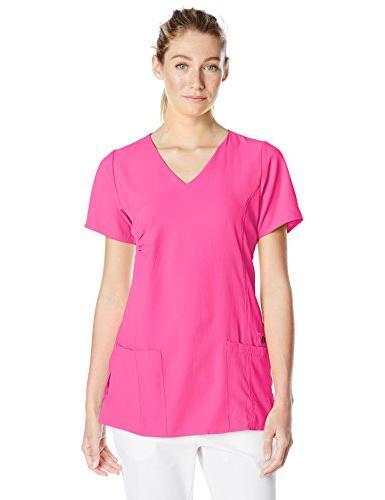 WonderWink Women's Easy Fit Shirred Scrub Top, Hot Pink,