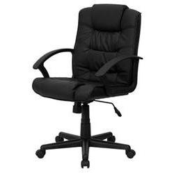 Eco-Friendly Black Leather Mid-Back Office Chair