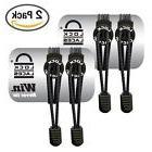 2 PCS LOCK LACES Elastic No Tie Shoe Laces  Black NEW SALE