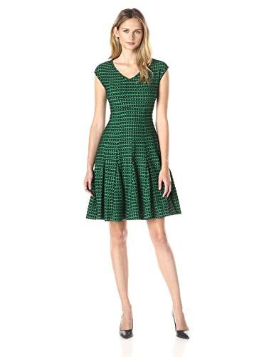 Taylor Dresses Women's Empire Seamed Knit Jacquard Fit and