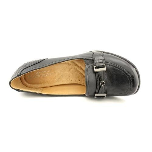NATURALIZER FATHOM LOAFER BLACK LEATHER CROCODILE ACCENT