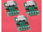 3pcs Female 2.54mm MICRO USB to DIP 5-Pin Pinboard