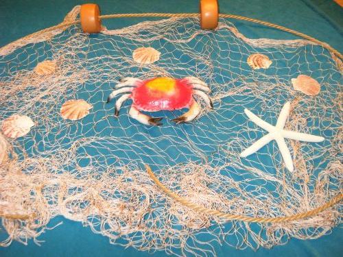 15 X 9 Fishing Net, Netting, Nautical Display, with Crab,
