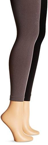 Muk Luks Women's Fleece Lined 2 Pair Pack Leggings, Black/Dark Grey, Large