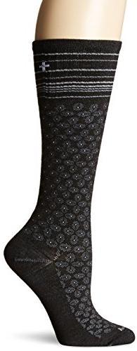 Sockwell Women's Floral Pindot Socks, Medium/Large, Black