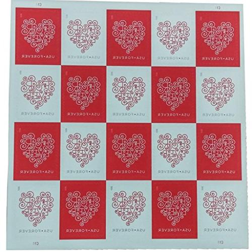 Forever Hearts 1 Sheet of 20 USPS Forever Stamps #588500