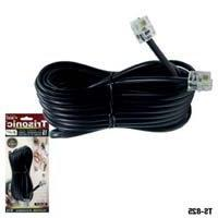25' FT FOOT BLACK PHONE TELEPHONE EXTENSION CORD CABLE LINE