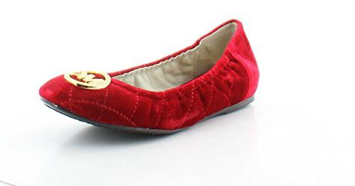 Michael Kors Fulton Quilted Ballet Womens Size 8 Red Textile