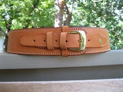 "50"" Natural Genuine Leather .38 Caliber Cartridge Gun Belt"