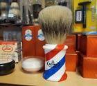 """Giant Omega """"Barber Pole"""" shaving brush 1003 for display"""