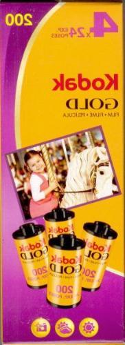 Kodak Gold Film 4 Rolls 24 Exposure 35mm Film ISO 200 Speed