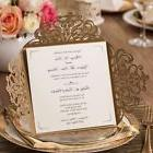Wishmade 50x Gold Square Laser Cut Wedding Invitation Cards