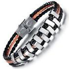 Gold Tone Stainless Steel Rope Braided Black Leather