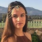 Gold Turquoise Arabic hamsa Hand Hair Head Chain Boho