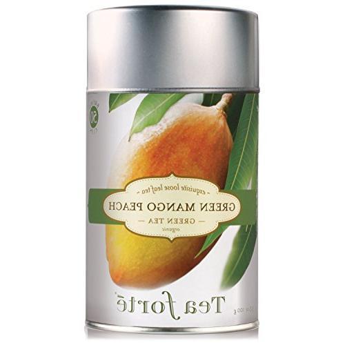 Tea Forte GREEN MANGO PEACH Organic Loose Leaf Green Tea, 3.